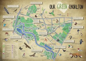 A map of green spaces in Chorlton